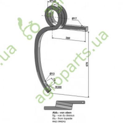 Стійка спіральна пружинна права 35x35 (RAL9017/K1)