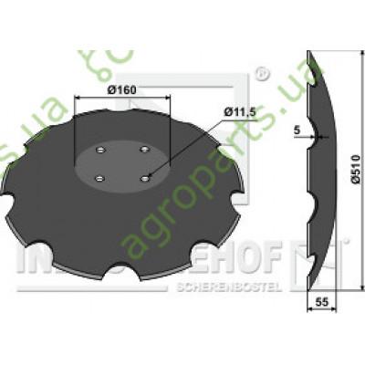 Диск борони зубчатий D510x5mm LK120 4xD10,5